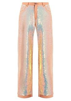 Ashish Sequin-embellished wide-leg jeans