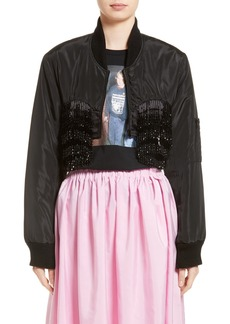 Ashley Williams Crop Beaded Bomber Jacket