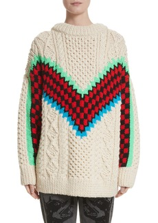Ashley Williams M Chunky Cable Knit Wool Sweater