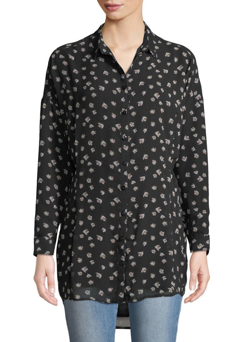 Ash Floral Print Button-Front Shirt