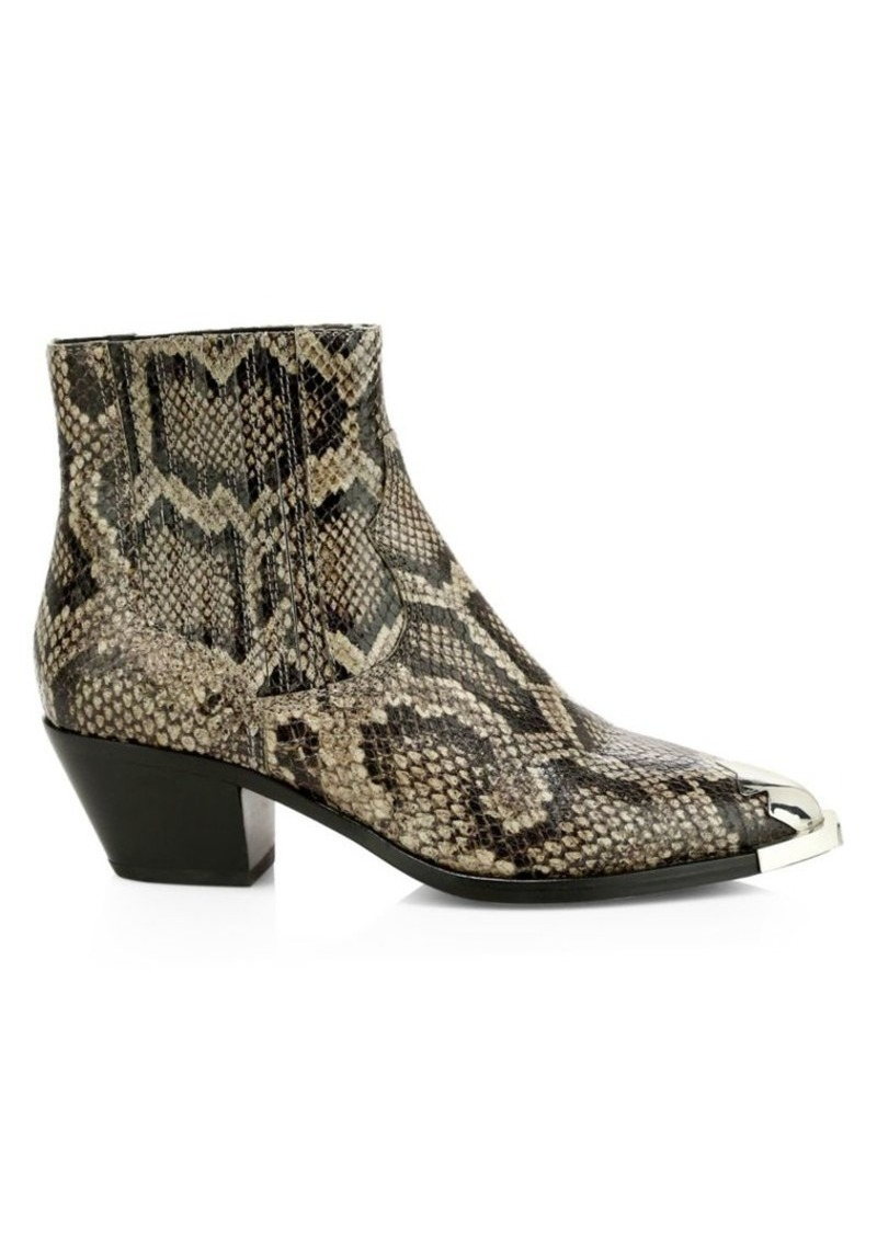Ash Floyd Snakeskin-Embossed Leather Ankle Boots