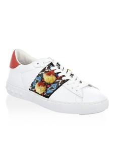 Ash Pom-Pom Leather Sneakers