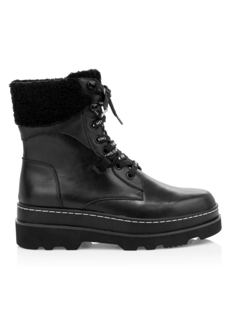 Ash Siberia Faux Fur-Lined Leather Combat Boots