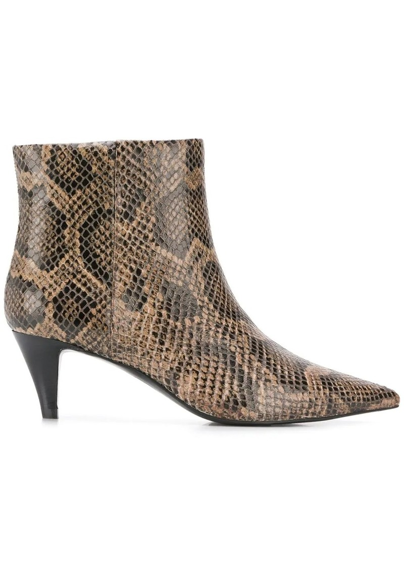 Ash snake-effect ankle boots
