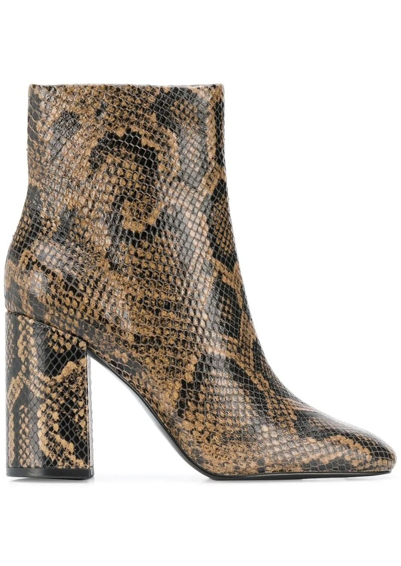 Ash snake print ankle boots