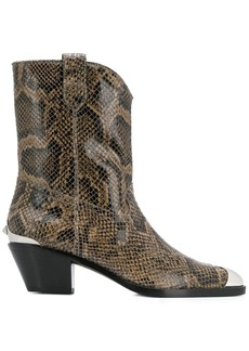 Ash snakeskin-effect cowboy boots