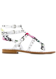 Ash studded scarf wrapped sandals