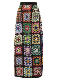 Ashish Sequinned patchwork crochet maxi skirt