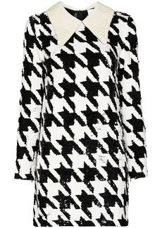 Ashish Houndstooth-pattern sequin-embellished mini dress