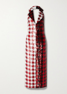 Ashish Gingham Sequined Georgette Halterneck Maxi Dress