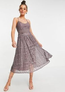 ASOS DESIGN cami strap midi prom dress in lace with circle trims in Dusty Mauve