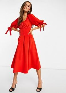ASOS DESIGN channeled corset puff sleeve prom skater midi dress in carrott