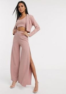 ASOS DESIGN jersey wide leg suit pants