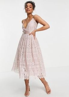 ASOS DESIGN Lace prom dress with wrap waist detail
