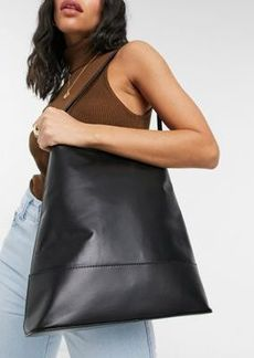 ASOS DESIGN leather clean structured tote bag in black