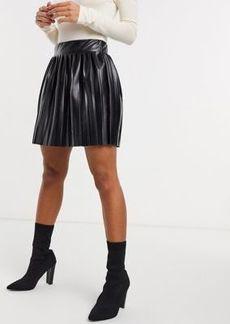 ASOS DESIGN leather look mini pleated tennis skirt in black