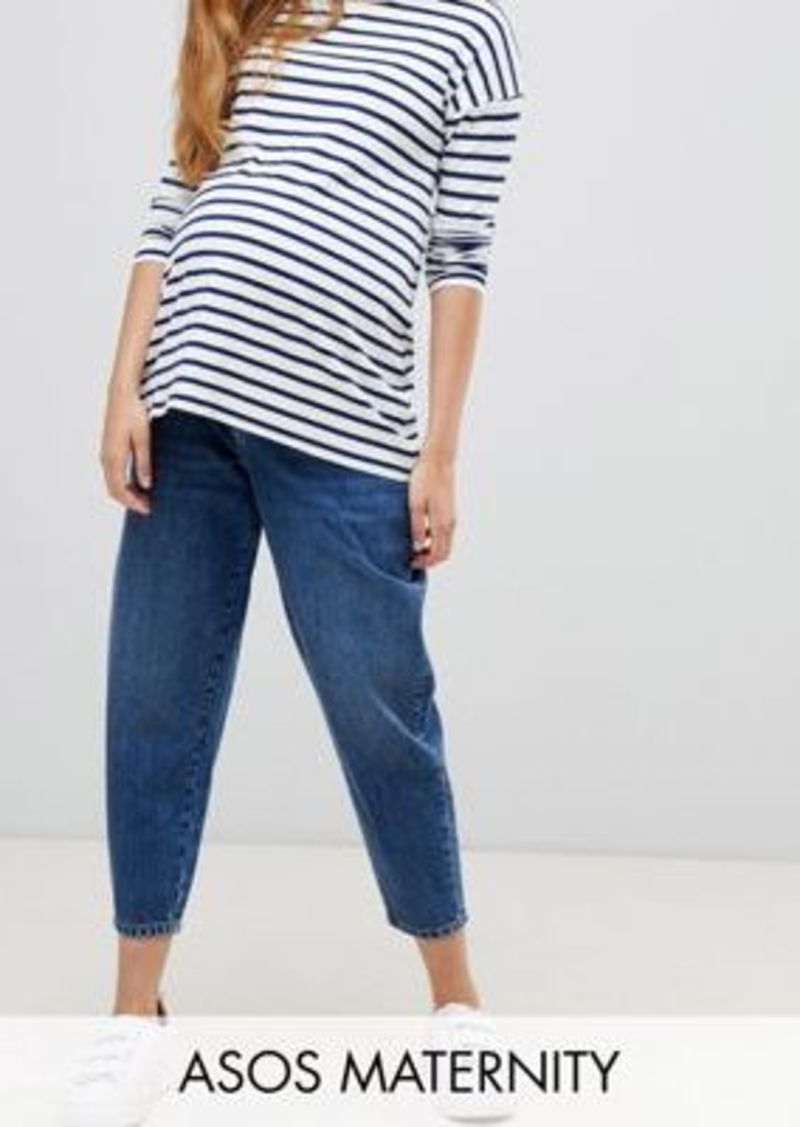 ASOS DESIGN Maternity balloon leg boyfriend jeans in dark blue wash with under the bump waistband