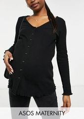 ASOS DESIGN Maternity button front top in waffle in black