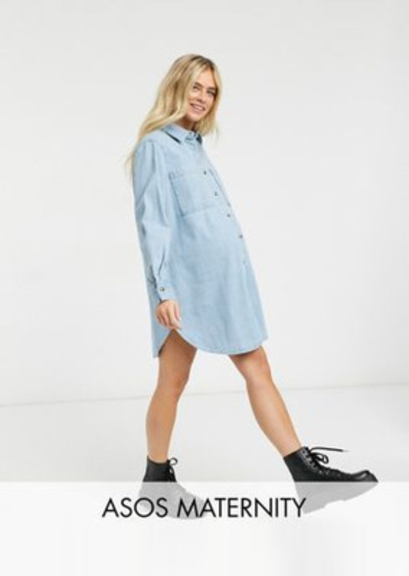 ASOS DESIGN Maternity denim oversized shirt dress in midwash blue