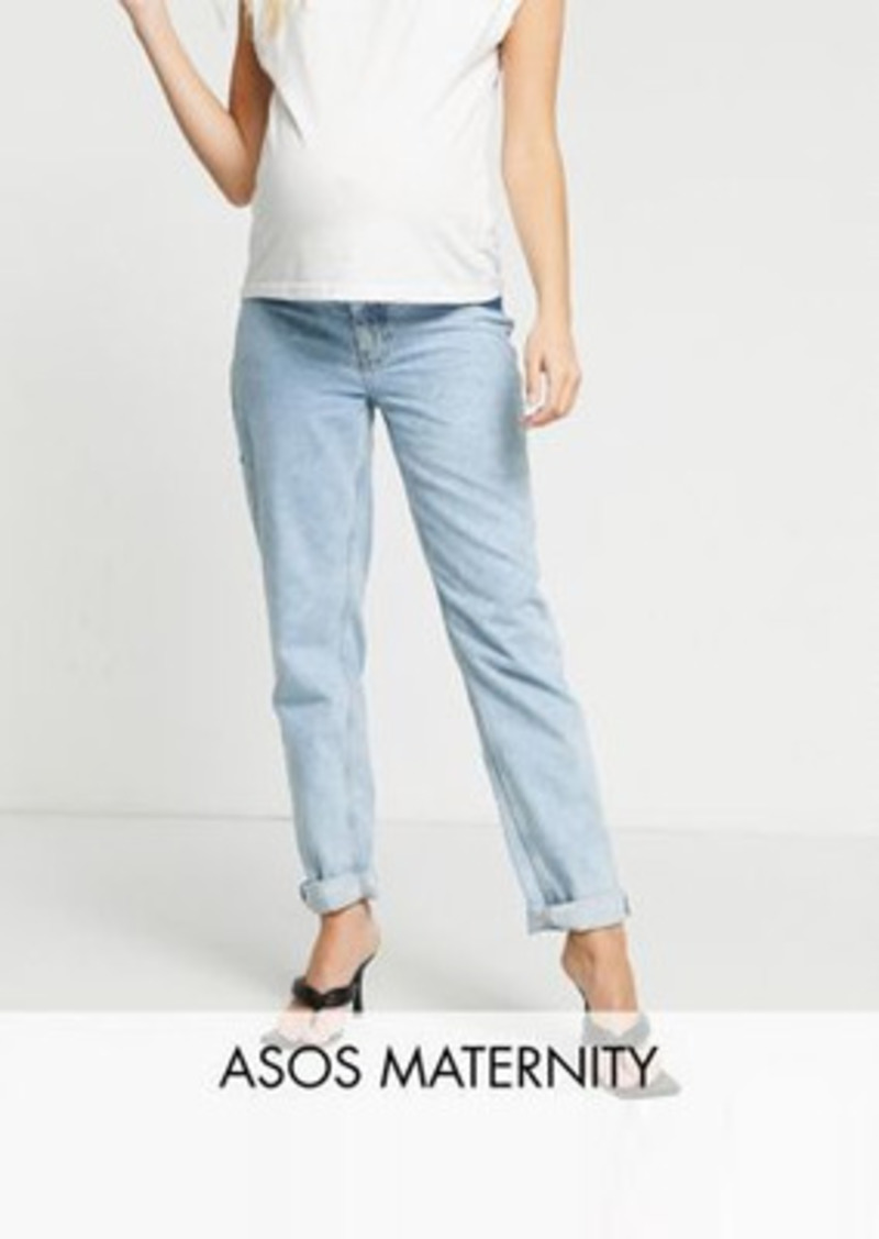 ASOS DESIGN Maternity high rise 'original' mom jeans in lightwash with elasticated side waistband