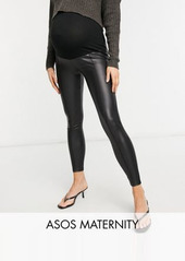 ASOS DESIGN Maternity leather look legging with pintuck in black