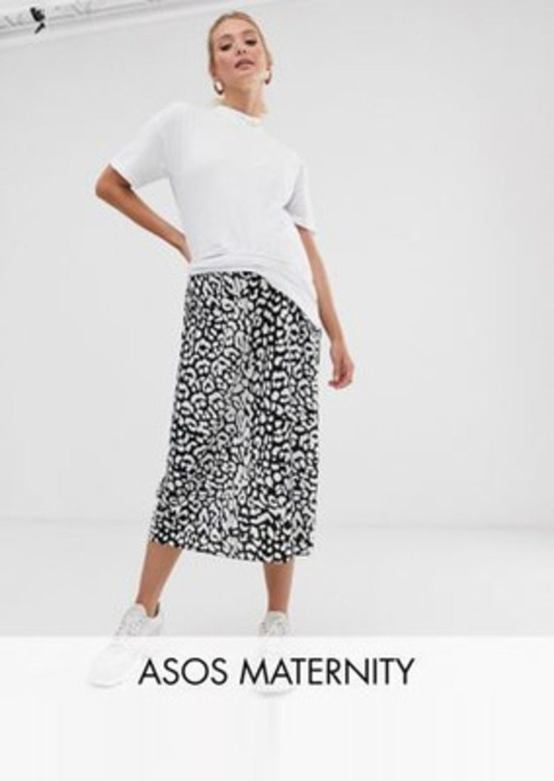 ASOS DESIGN Maternity mock wrap skirt in mono leopard