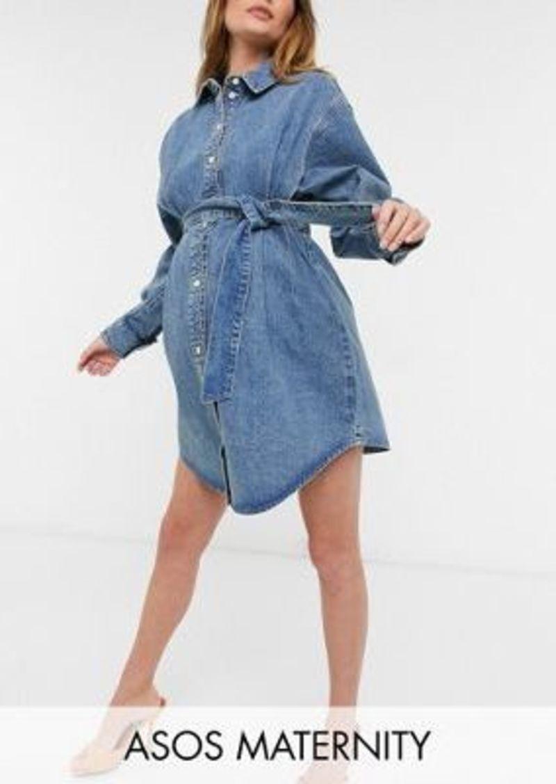ASOS DESIGN Maternity organic denim oversized belted shirt dress in mid wash