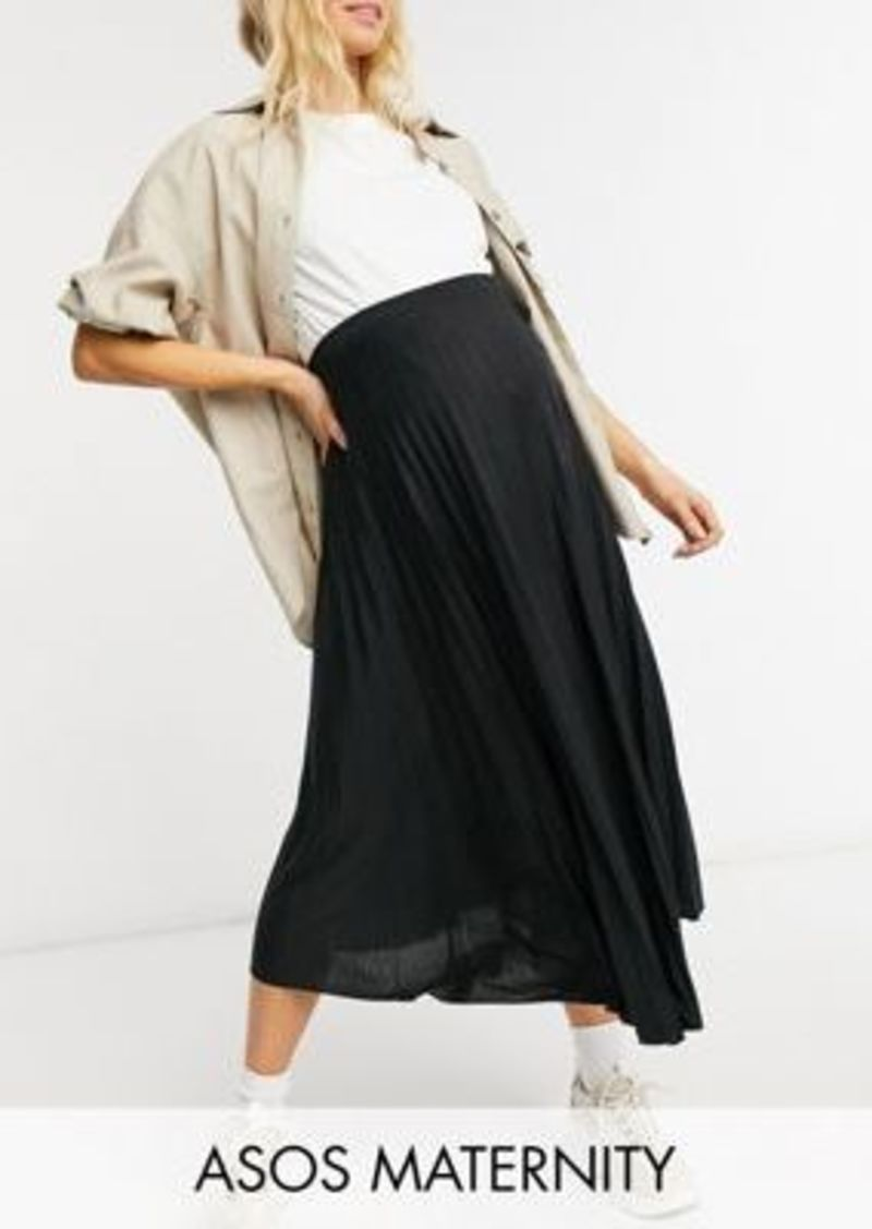 ASOS DESIGN Maternity pleated midi skirt in black