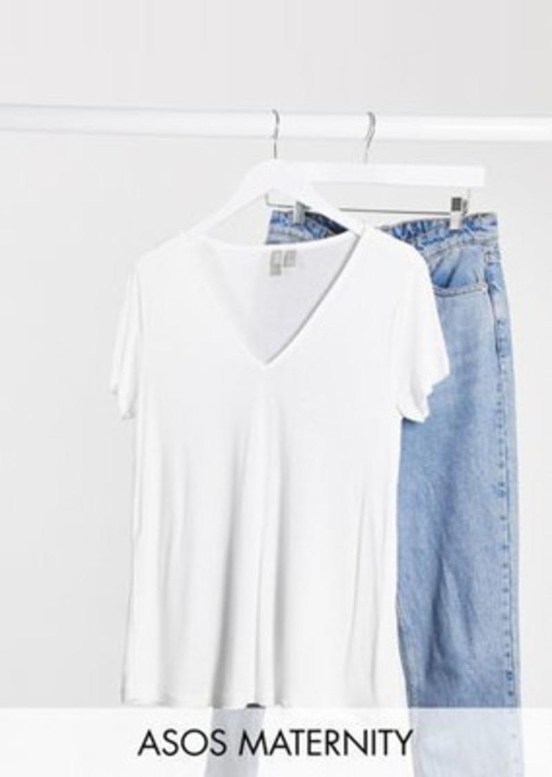 ASOS DESIGN Maternity relaxed v neck t-shirt in white