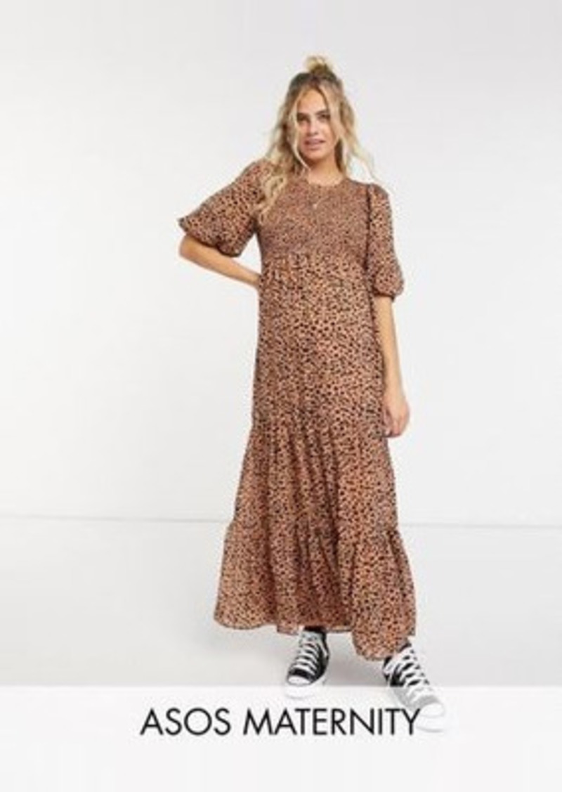 ASOS DESIGN Maternity shirred tiered maxi dress in mono polka dot