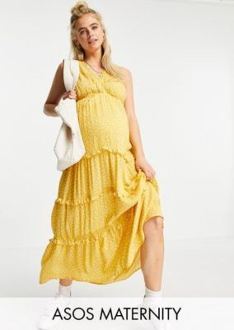 ASOS DESIGN Maternity sleeveless tiered crinkle maxi dress with lace inserts in mustard spot