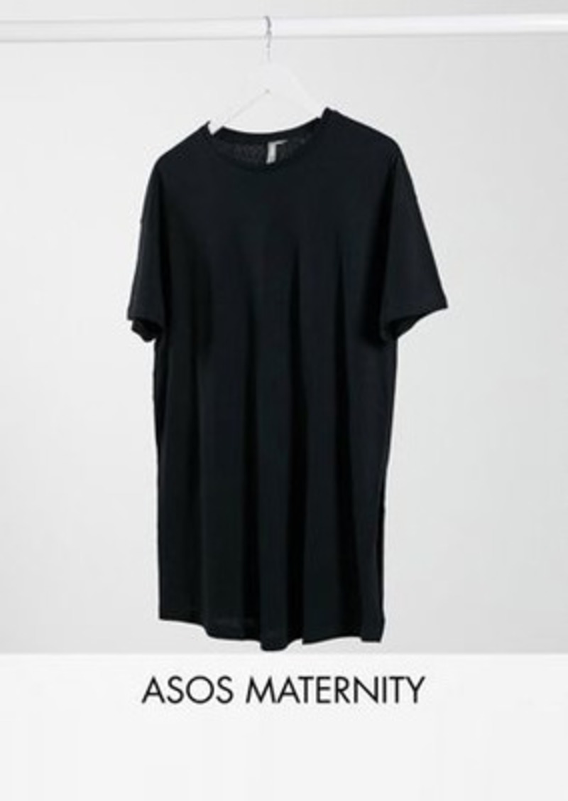 ASOS DESIGN Maternity textured longline t-shirt with side splits in black