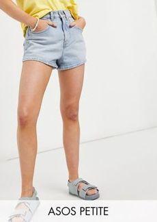 ASOS DESIGN Petite denim high rise 80s mom shorts in light wash