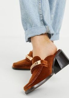 ASOS DESIGN Shaw chain loafer mid heel mules in rust velvet