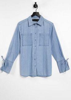 ASOS DESIGN soft denim oversized shirt in midwash