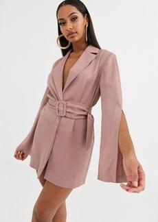 ASOS DESIGN split sleeve wrap waist longline blazer