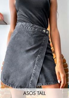 ASOS DESIGN Tall denim wrap skirt in washed black