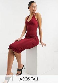 ASOS DESIGN Tall rib double cup strappy cami midi dress in wine