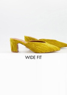 ASOS DESIGN Wide Fit Siena mid heeled mules in mustard