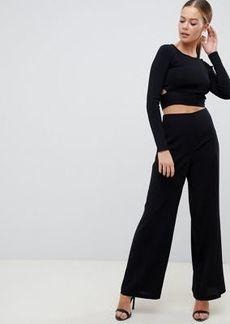 ASOS DESIGN wide leg pants with clean high waist