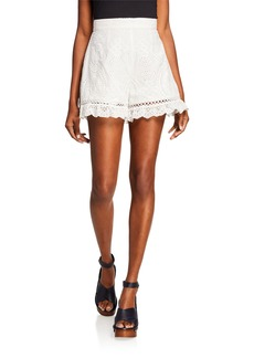 ASTR Anna Crochet High-Waist Cotton Shorts