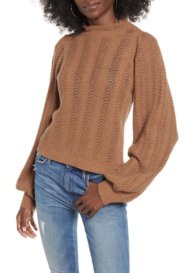 ASTR Brynn Pointelle Blouson Sleeve Sweater