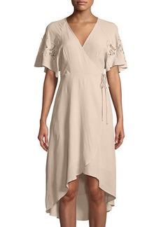 ASTR Lace-Shoulder Wrap Dress