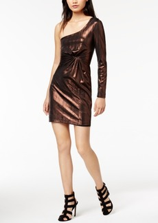 Astr The Label Silvia Metallic Twist-Front One-Shoulder Dress