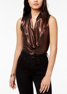Astr The Label Taryn Metallic Draped Bodysuit