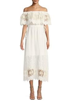 ASTR Tatiana Embroidered Off-The-Shoulder Dress