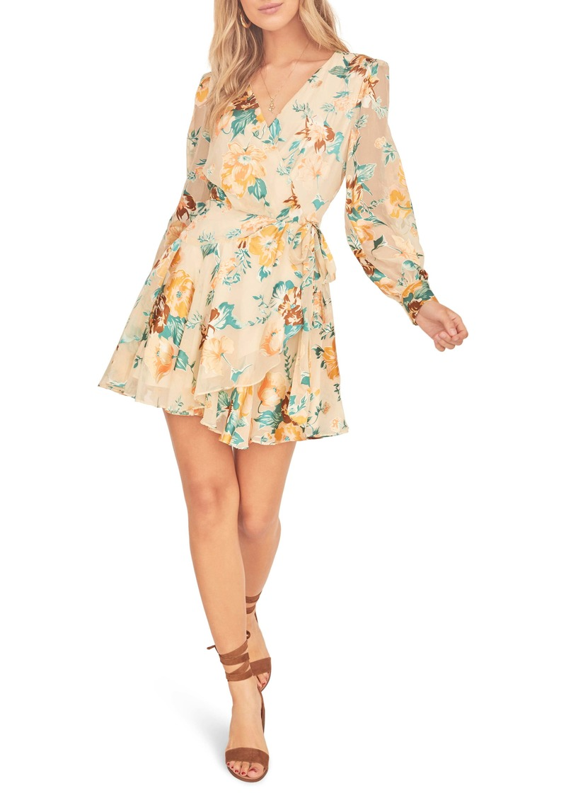 ASTR the Label Aja Long Sleeve Floral Wrap Minidress