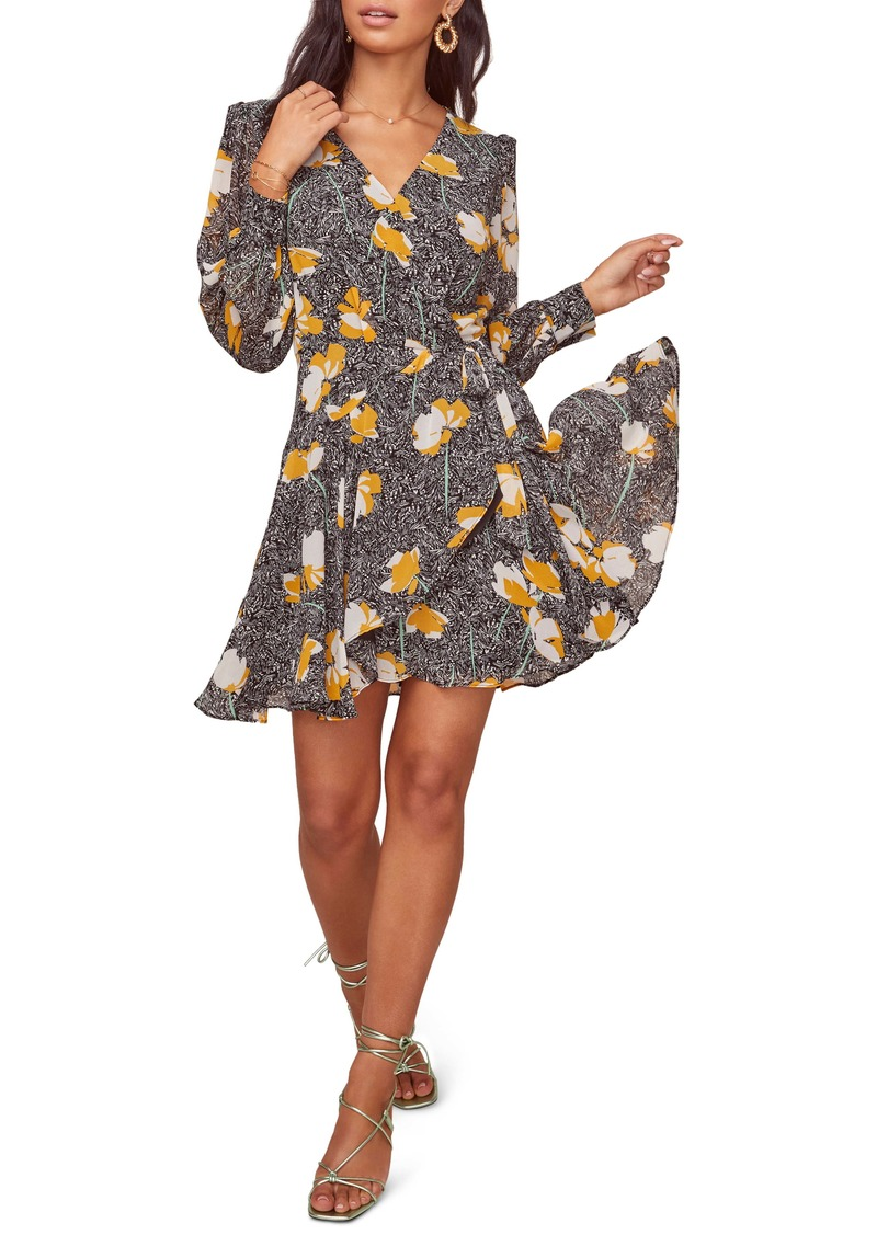 ASTR the Label Aja Long Sleeve Wrap Minidress