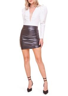 ASTR the Label Amora Puff Sleeve Plunge Neck Bodysuit