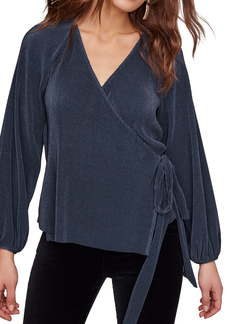 ASTR the Label Becca Micropleat Wrap Front Blouse